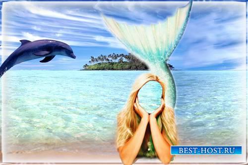 Psd для фотошопа - Дельфин и русалка