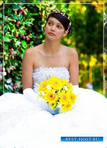 Женский шаблон для фотошопа - Невеста с желтыми цветами
