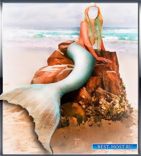 Psd для фотошопа - Русалочка на берегу моря