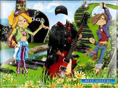 Фотошаблон - Мультяшная рок группа