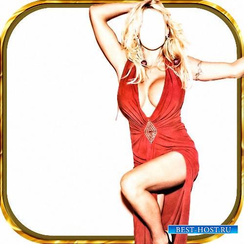 Template Photoshop - Блондинка в красном платье