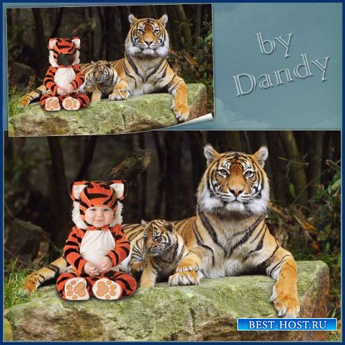 Шаблон для мальчика - Маленький тигренок с братишкой