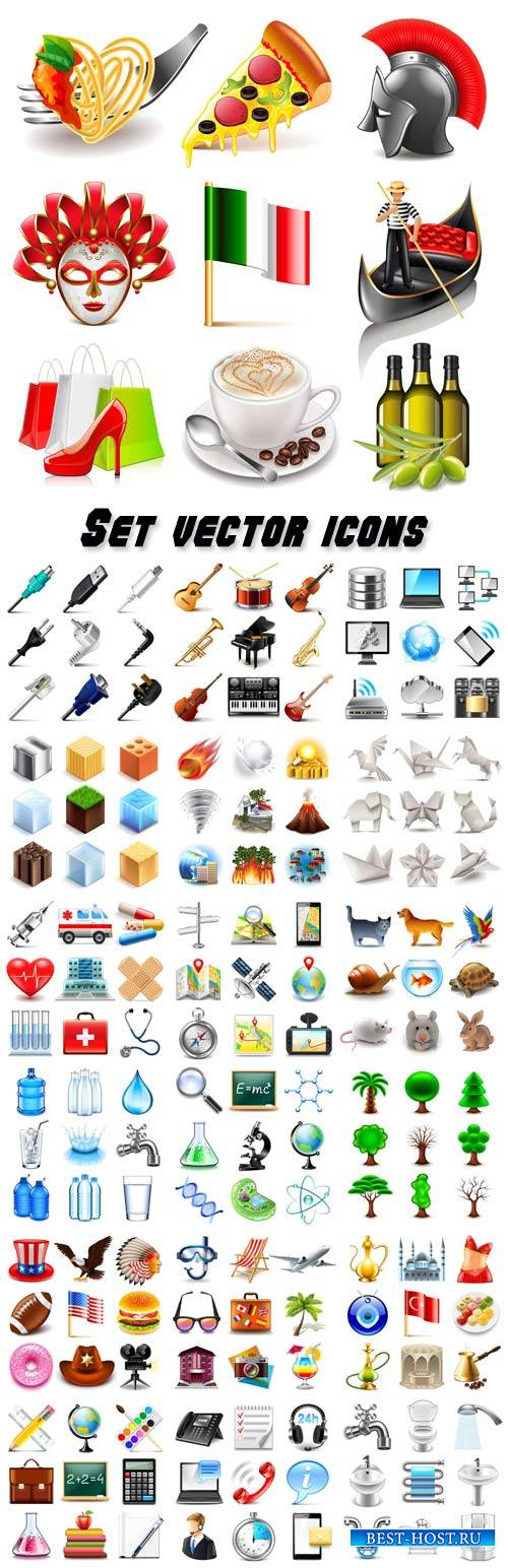 Set of different vector icons