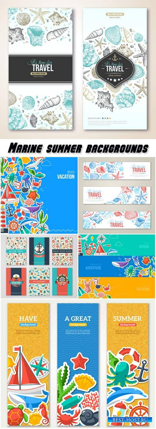 Marine summer banners and backgrounds vector