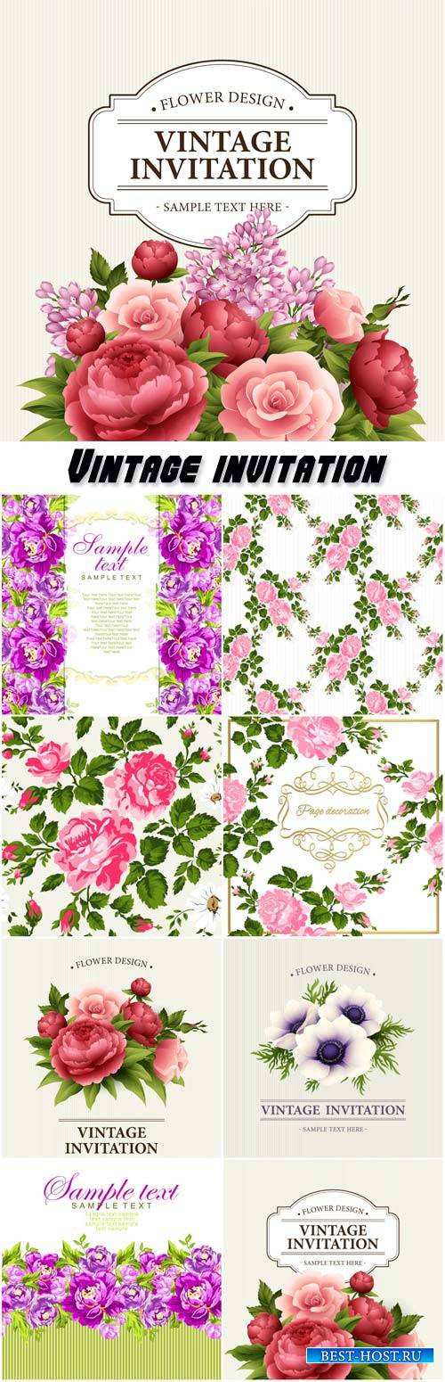 Vintage invitation vector, backgrounds with flowers