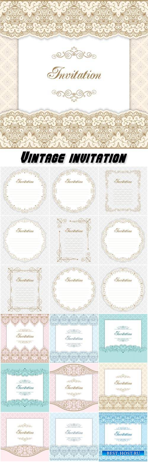 Vintage invitation, calligraphy vector