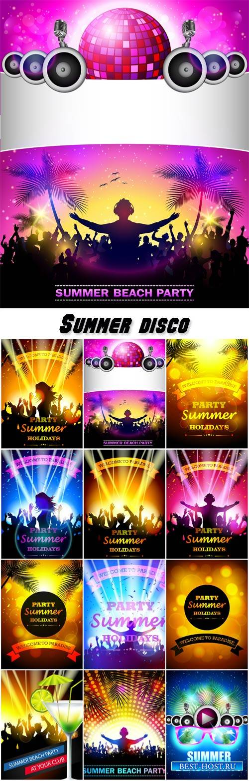 Summer disco, vector posters