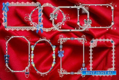 Клипарт Вырезы и рамки винтажные серебристые с синими камнями