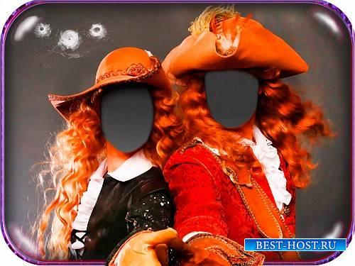 Двойной шаблон для фото - В костюмах мушкетеров