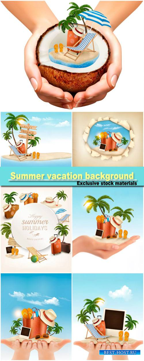 Summer vacation background, tropical island with palms