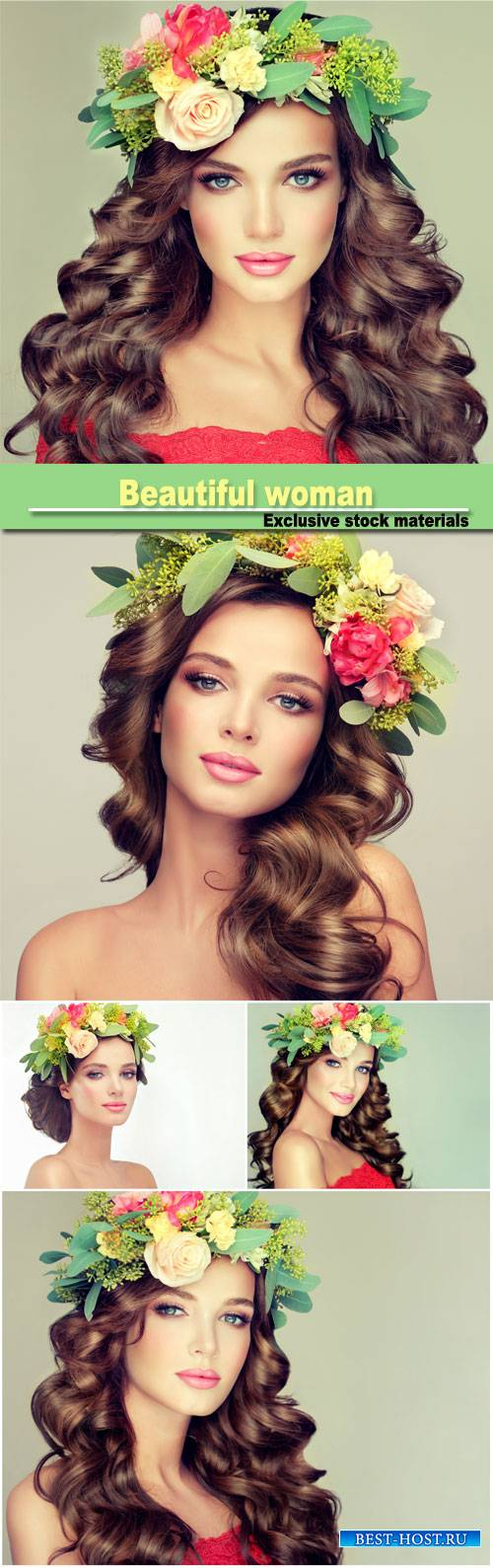 Beautiful woman model brunette with long curly hair floral wreath on the he ...