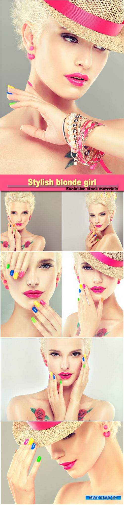 Stylish blonde girl with bright makeup and colorful nail
