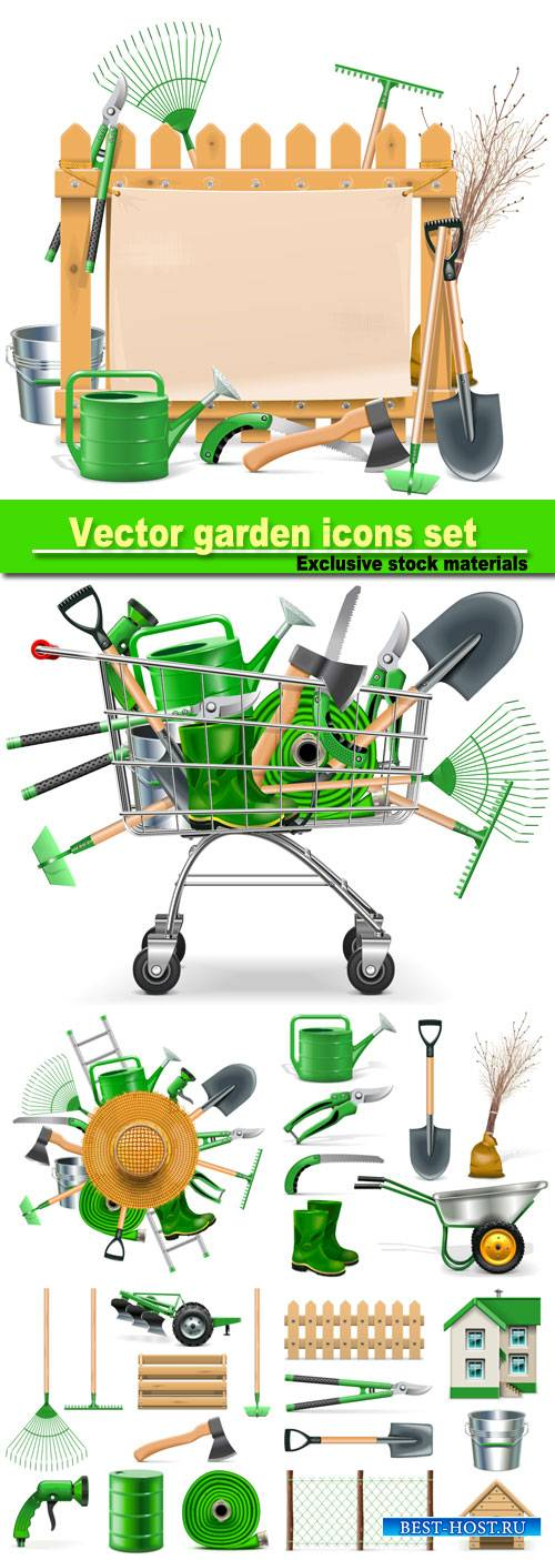 Vector garden icons set