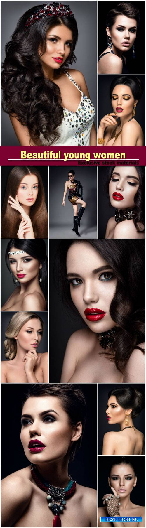 Beautiful young women, stylish make-up, hairstyles