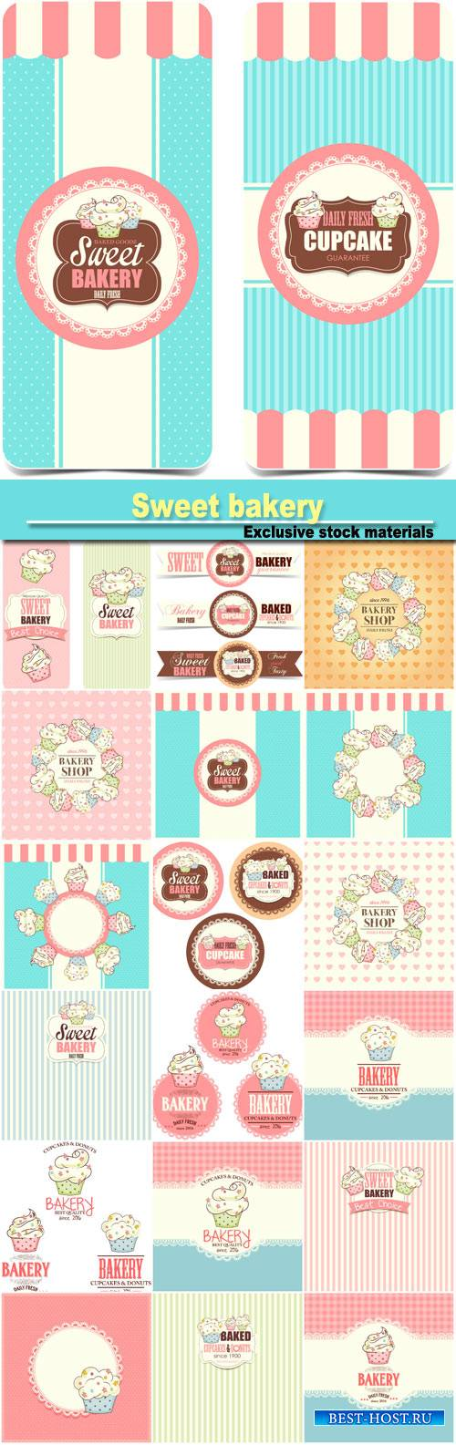 Sweet bakery, backgrounds and label