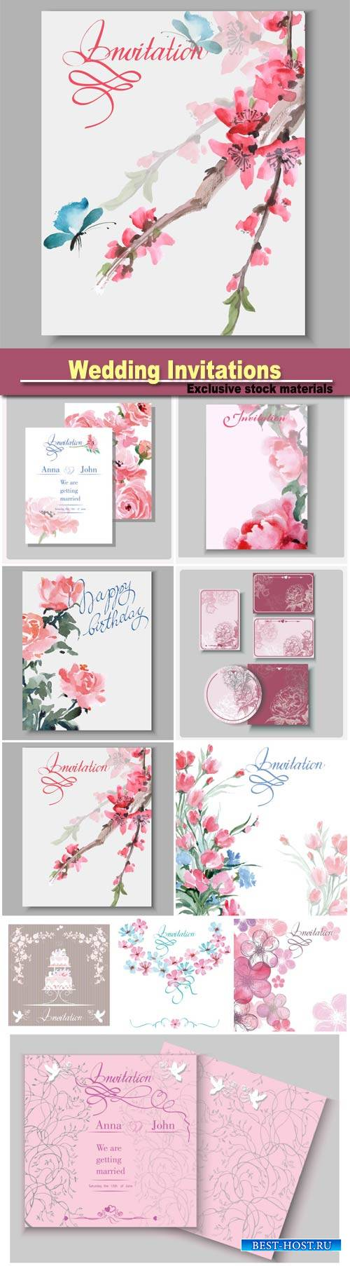 Wedding Invitations with beautiful flowers and butterflies