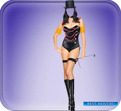 Прикольный фотомонтаж Шаблон для photoshop - Девушка дрессировщица