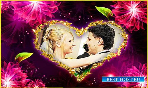 Свадебная рамка - Цветы.любовь и золото
