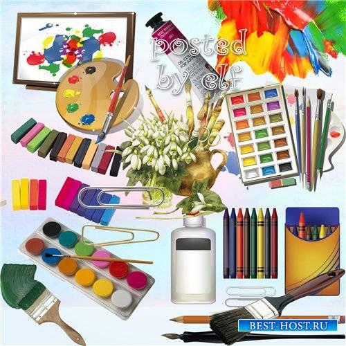 Краски, мелки и пастель, кисти - клипарт png