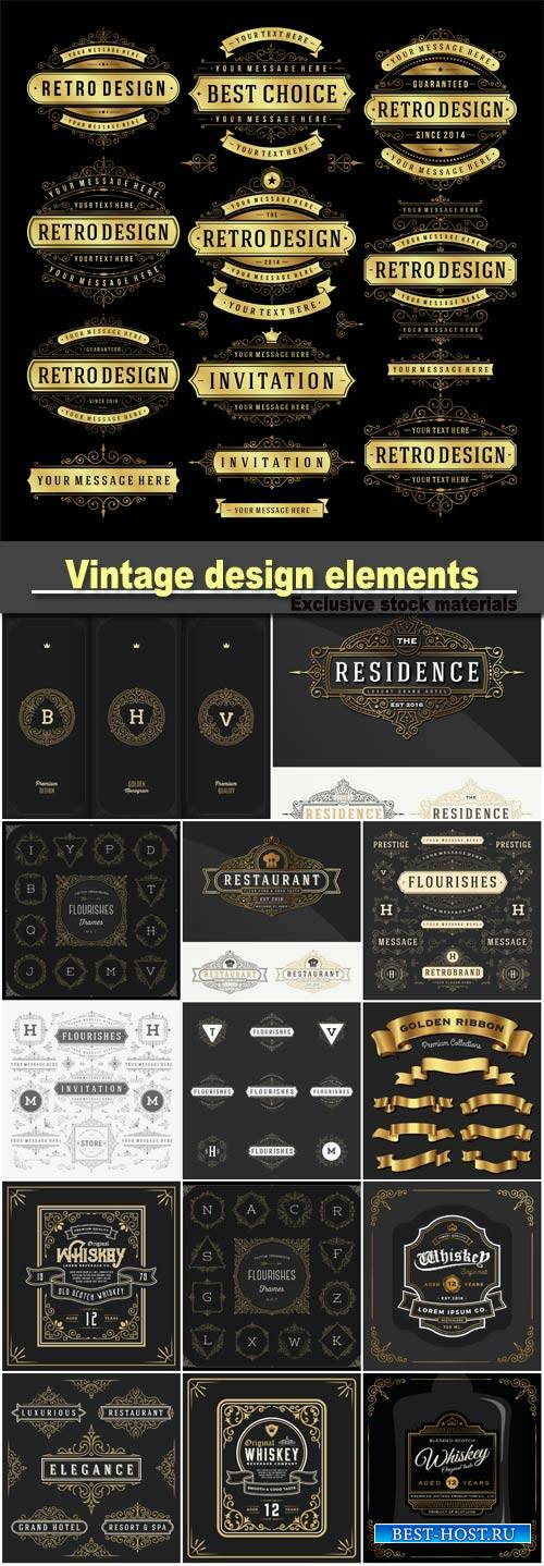 Vintage  and design elements, monogram