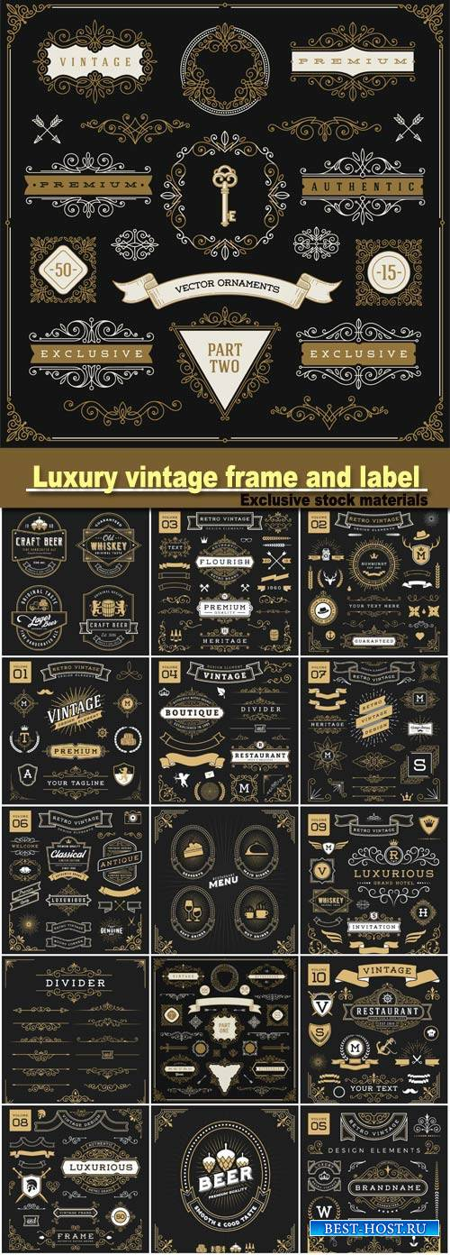 Luxury vintage and label for restaurant menu