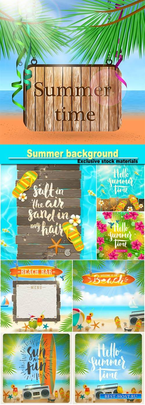 Summer background with marine elements