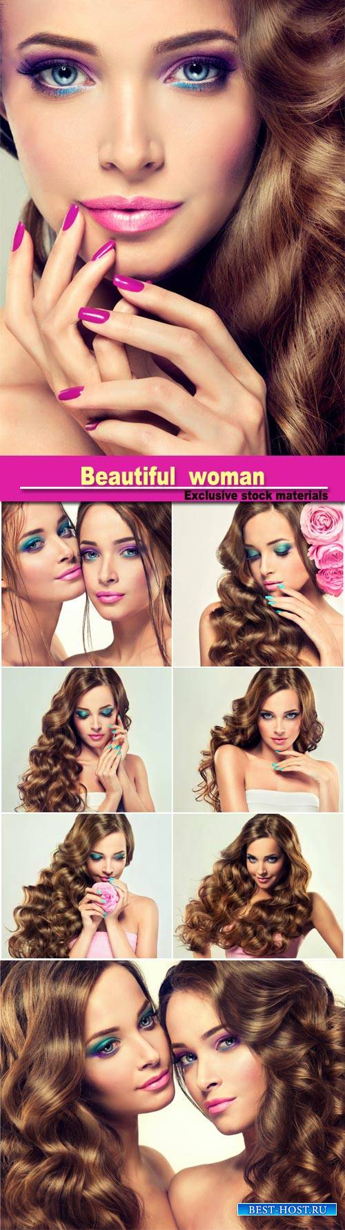 Portrait of young models, with lush hair, perfect violet makeup and pink ma ...