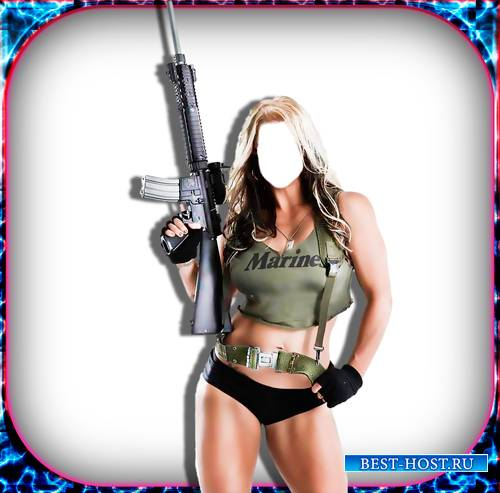 Фотомонтаж Psd шаблон - Военная девушка