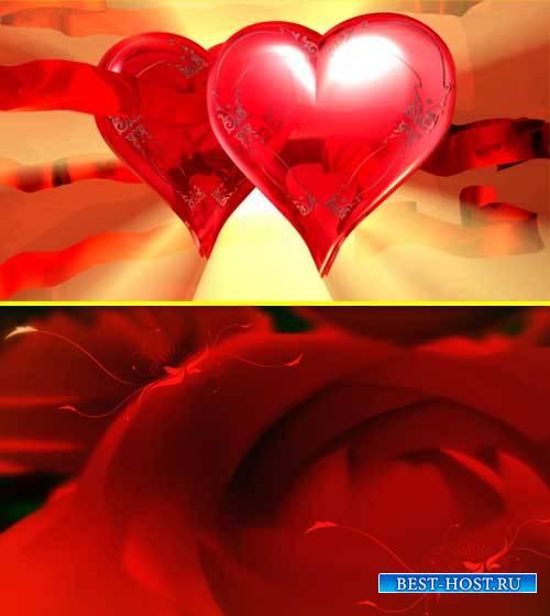 Футаж фона - Розы и сердца