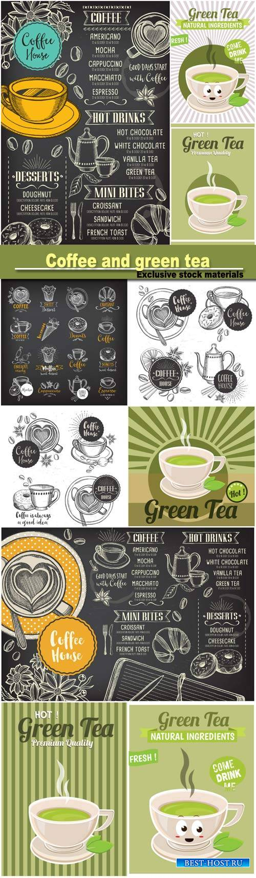 Vintage posters of coffee and green tea