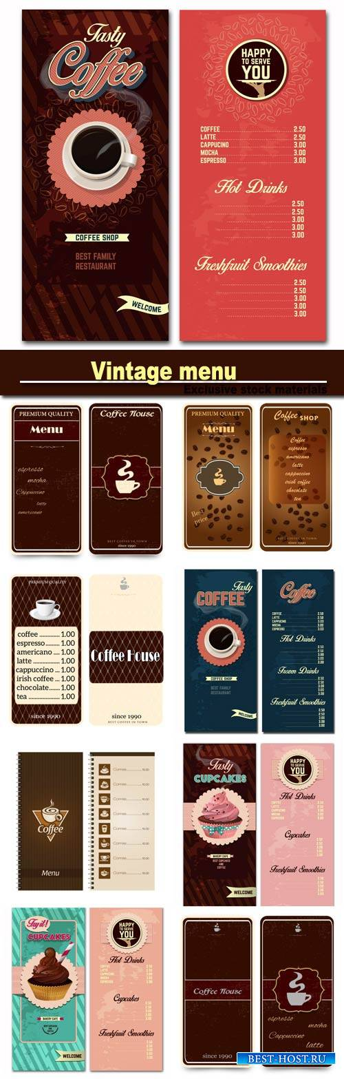 Vintage menu, coffee and cakes