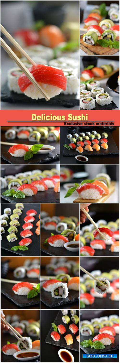 Dish with various types of sushi