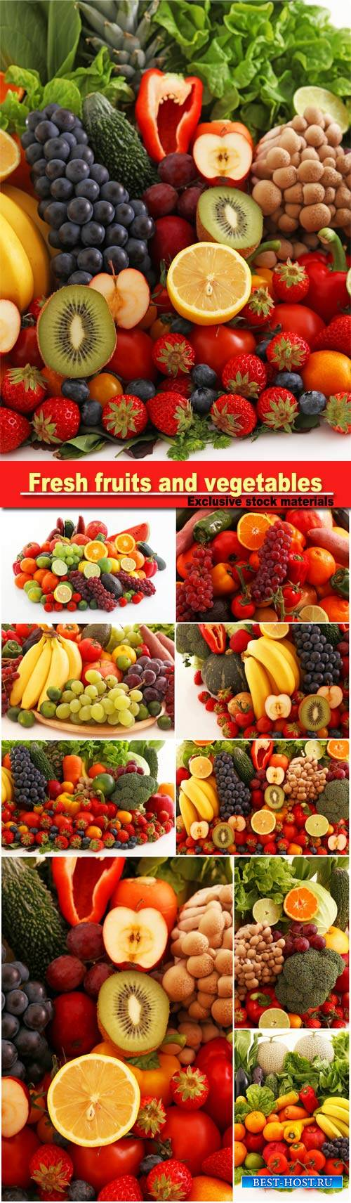 Fresh fruits and vegetables, grapes, bananas, oranges, kiwi