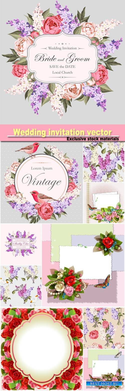 Wedding invitation vector, floral