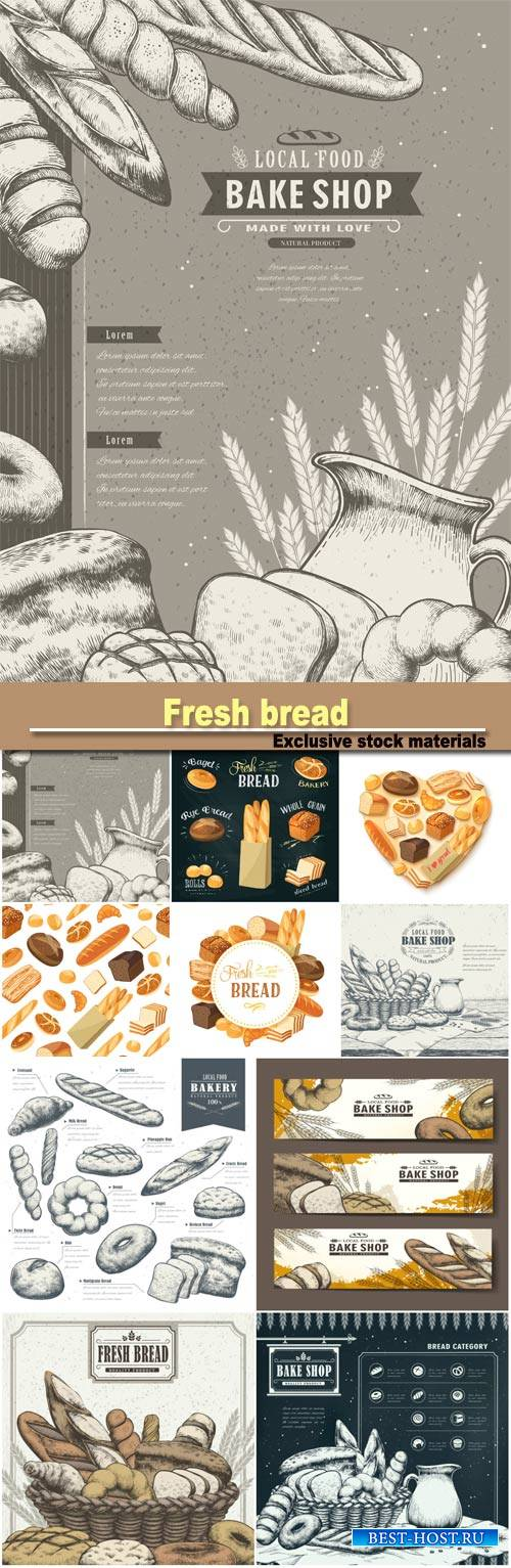 Fresh bread, vector backgrounds bakery products