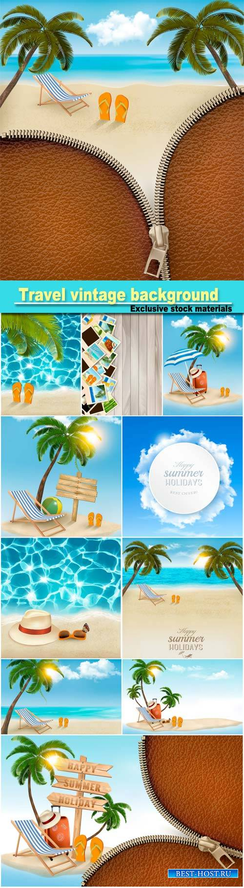 Travel vintage background with palm tree and gold beach