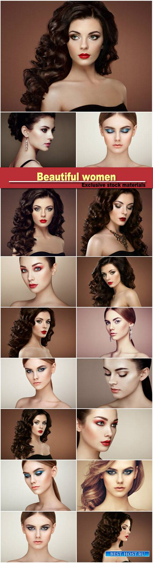 Beautiful women, stylish makeup, hairstyles
