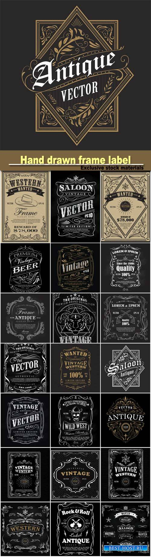 Hand drawn label, blackboard retro vintage wanted banner, vector illustrati ...