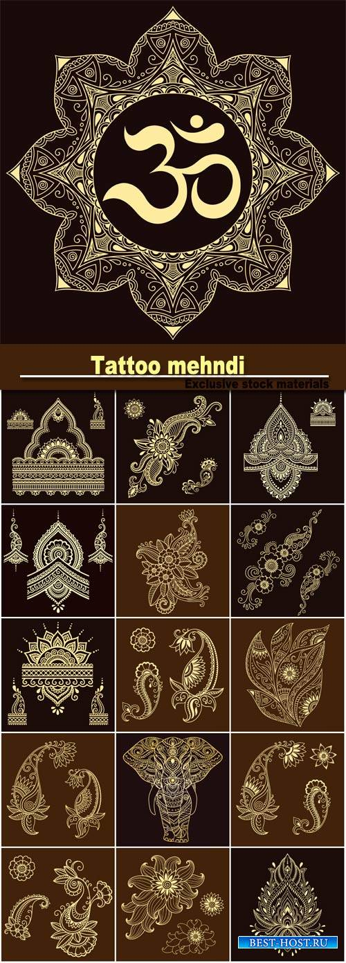 Tattoo mehndi abstract gold