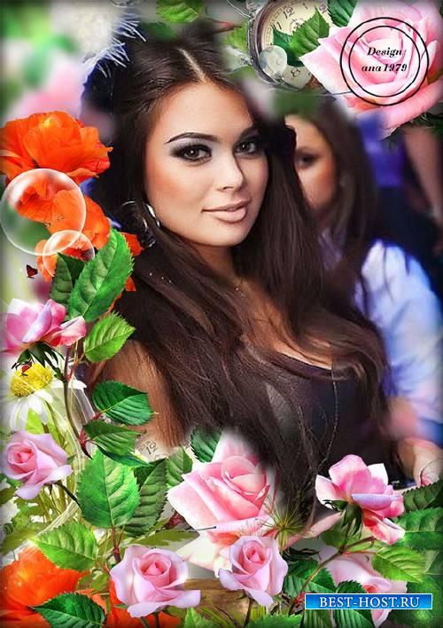 Рамка для фотошопа – Розовые розы