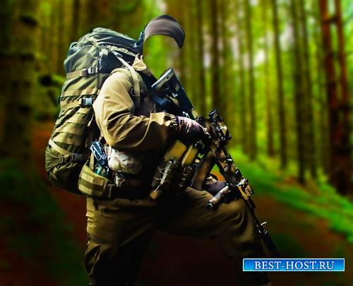 Мужской фото шаблон - Лесной снайпер