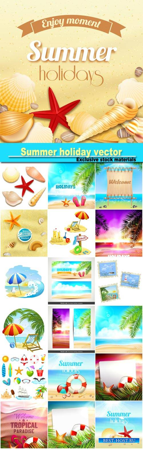 Summer holiday, vector backgrounds sea, palm trees, tropical paradise