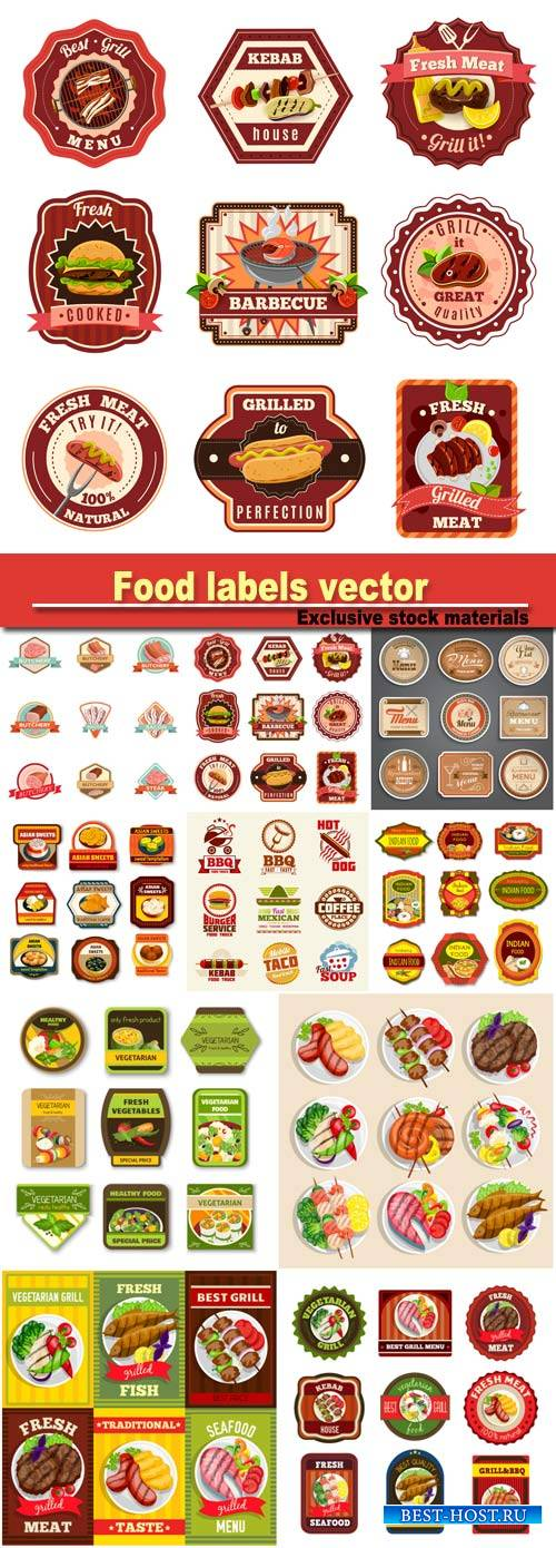 Food labels, vector illustration