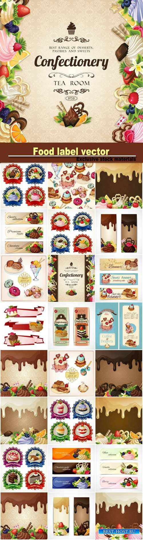 Labels, banners and backgrounds vector, confectionery, chocolate, ice cream