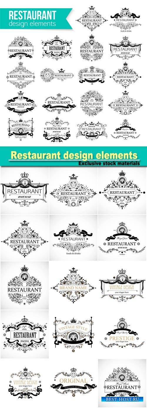 Restaurant design elements, vector menu