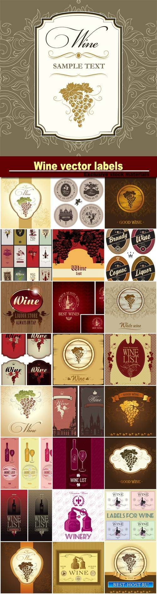 Wine vector labels, menu