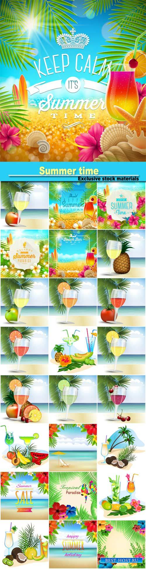 Summer time, tropical paradise, cocktails and fresh juices