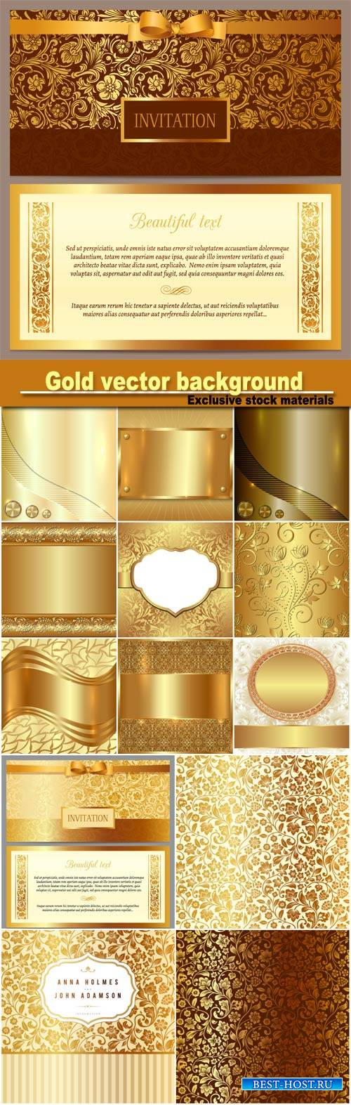 Gold vector background, wedding invitation