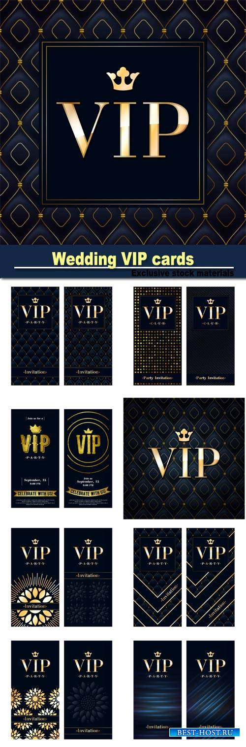 Wedding VIP cards, vector backgrounds