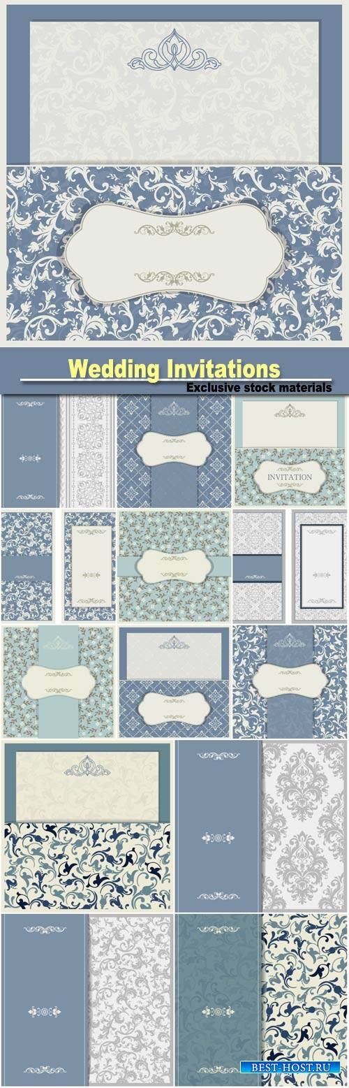 Wedding invitations with vintage patterns, vector backgrounds